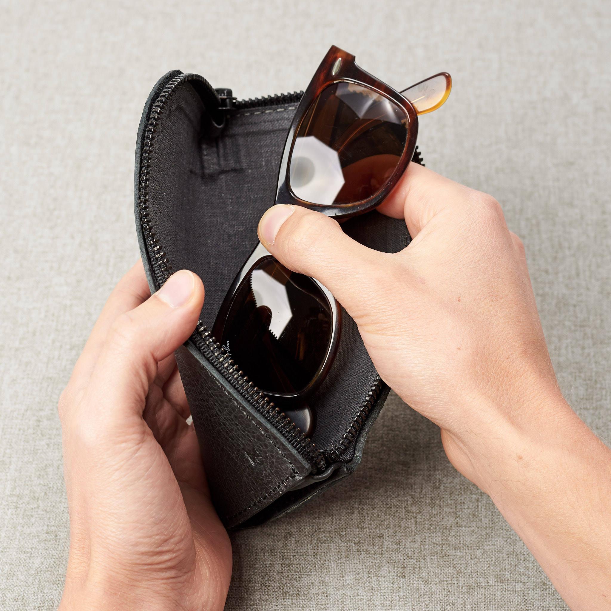 efdf55132a0 Black Leather Glasses Case Men Handmade Sunglasses Bag Travel