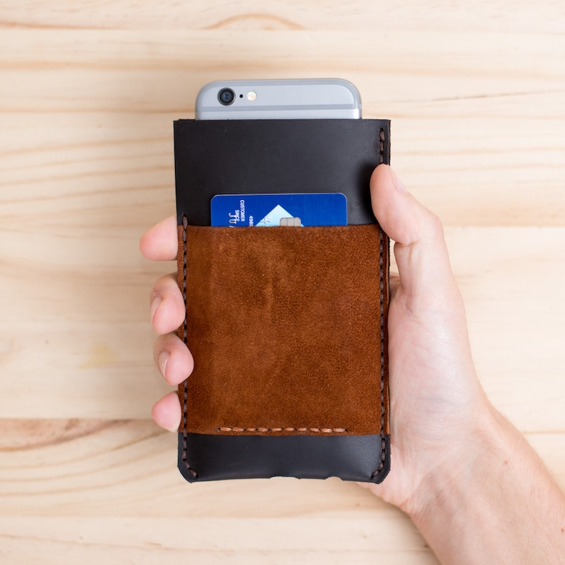435fbe7e0a495 Brown Leather iPhone Case Wallet Men 6 7 8 Plus X Sleeve