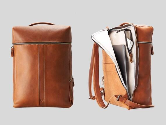 Tan Leather Laptop Backpack. Travel Rucksack 13 15 16 17 inch Macbook for Men. Daypack City Bookbag, Camera Bag, Custom Emboss Monogram Gift