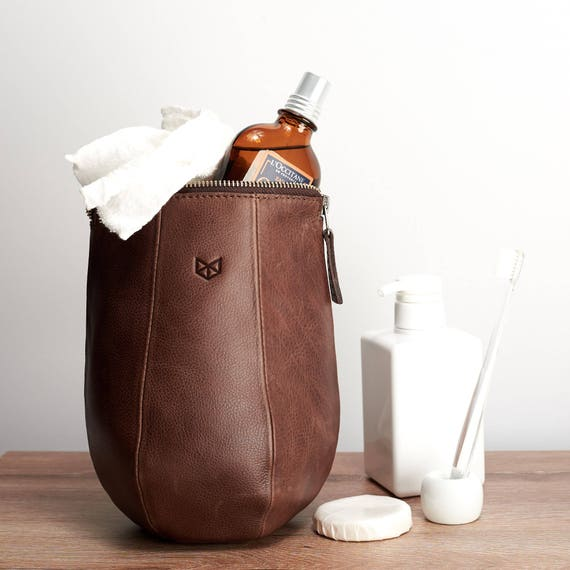 Brown Leather Hanging Toiletry Bag Men Travel Size Storage   Etsy cf1ad5667e