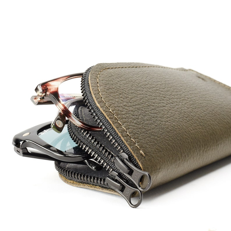 b91f11a52bd Green Leather Glasses Case Double Men Two Sunglasses Bag