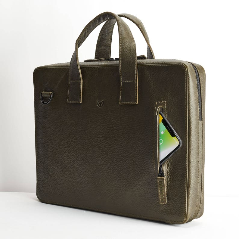 6368a90c04 Green Leather Briefcase Men Attache Portfolio Messenger