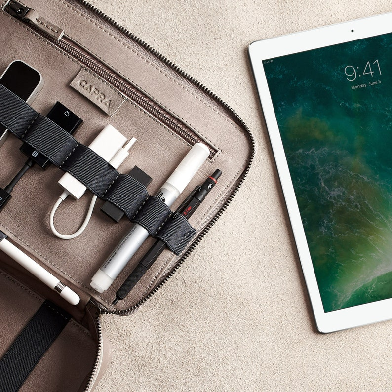 Gray Leather Travel Tech Organizer Men iPad Case Electronics  ca4e5b399012f