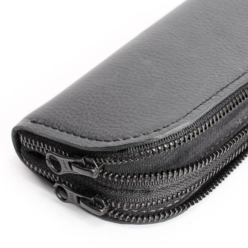 f53dc50a8b85d Black Leather Glasses Case Double Men Two Sunglasses Bag
