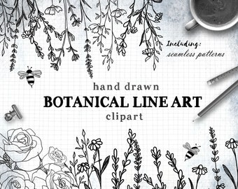 Floral line art clipart kit commercial use floral doodles clipart black and white botanical ink outline flowers hand drawn bouques roses