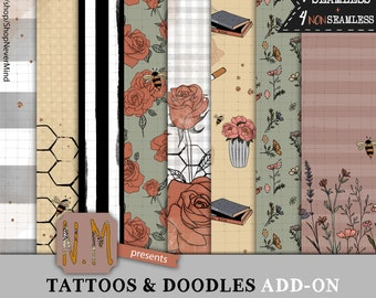 Flowers paper pack commercial use floral tattoos fashion girl additional papers fall retro colors digital pattern roses planner stickers