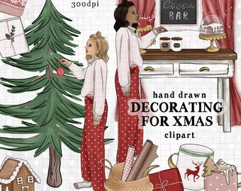 Christmas clipart kit red and white christmas clipart planner stickers planner supplies winter clipart kit fashion girl clipart ugly sweater