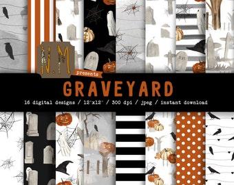 Halloween digital paper pack watercolor halloween graveyard digital pattern black white orange pumpkin grave crow bat tree ghost spider web