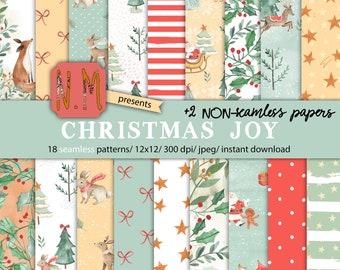 Christmas digital paper pack commercial use christmas digital pattern pastel green red santa watercolor animals winter wonderland elf pack
