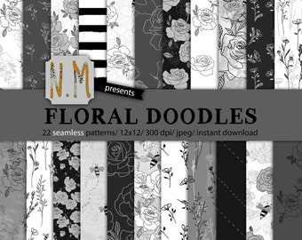 Black and White flowers digital paper pack commercial use floral doodles botanical ink flowers wedding invitation roses pattern fall paper