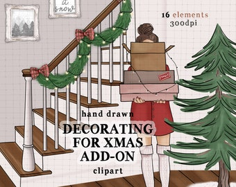 Christmas clip art cozy winter scene commercial use stairs fashion girl christmas tree dark wood distressed photo frames home decor clipart