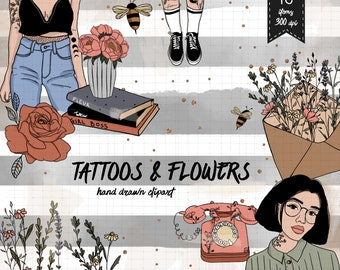 Flowers clipart kit commercial use floral tattoos fashion girls roses book telephone cigarette bees envelope clip art fall planner stickers