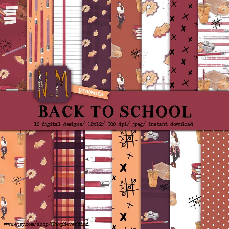Back To School digital paper pack watercolor school exam test college fall fashion girl plaid planner girl notebook bagel coffee backpack