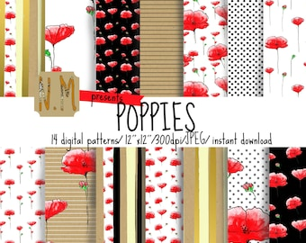 Watercolor Poppies digital paper pack Poppies digital pattern watercolor poppies scrapbooking paper watercolor flowers stripes gold foil
