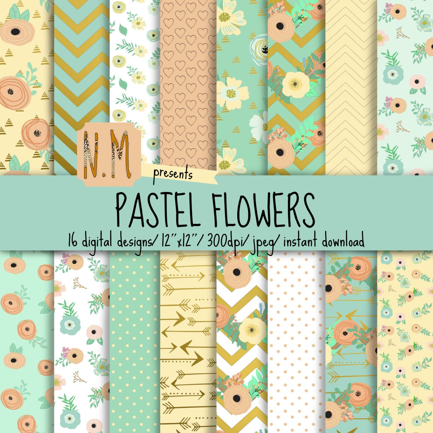 Floral Digital Paper Pack Floral Digital Pattern Pastel Blue Etsy