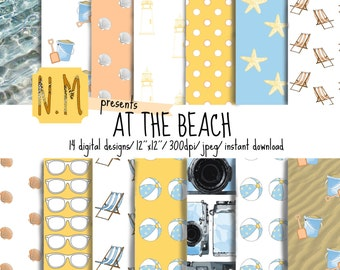 Beach digital paper, At the Beach, colorful summer printable paper with beach, sand, ocean, sunglasses, for beach and summer scrapbooking