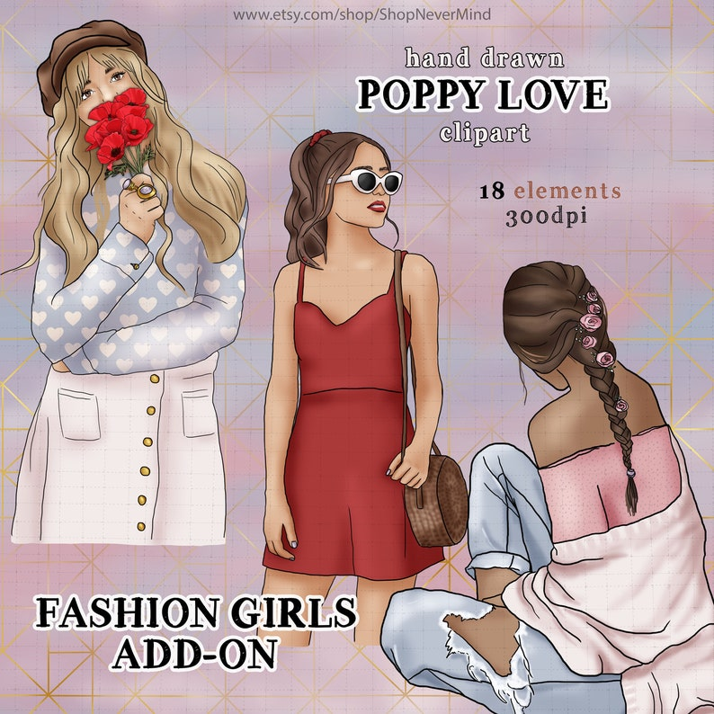 Spring clipart kit poppies clipart fashion girls commercial use planner sticker graphics summer picnic poppy fields red and gold clipart
