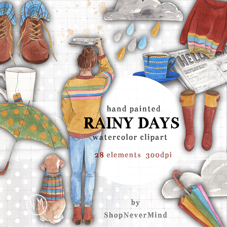 Rainy Days clipart set watercolor rain clouds sky fall | Etsy