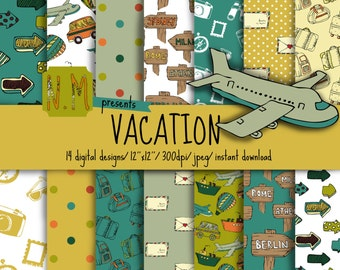 Travel digital paper pack vacation digital pattern travel scrapbooking paper with green blue yellow aeroplane hot air balloon, car, suitcase