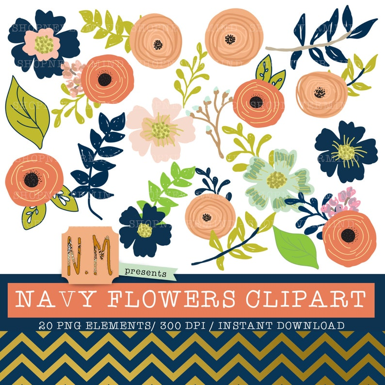 4cc672cb2e6ff Navy flowers clipart set hand drawn navy floral decorative digital elements  navy blue peach pink leaves flowers cute summer clip art kit