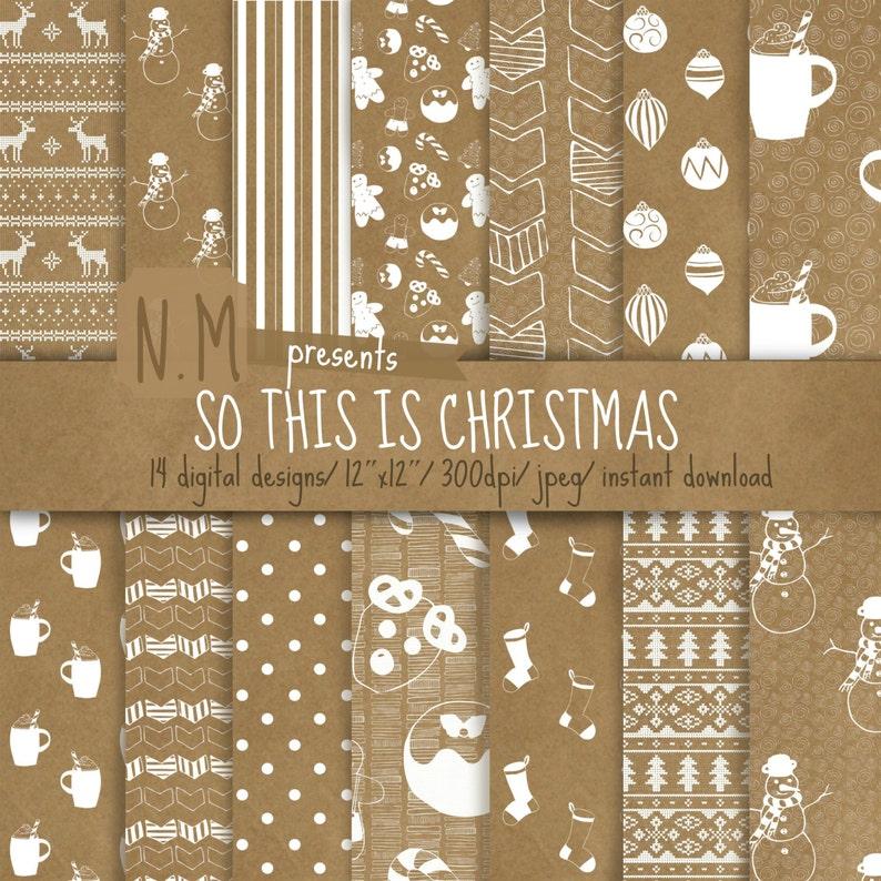 Christmas Digital Paper Pack Christmas Digital Pattern Kraft Paper Christmas Scrapbooking Paper White Christmas Cookies Stockings Snowman