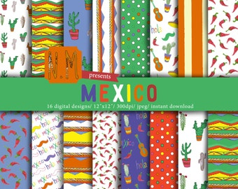 Mexico digital paper pack Travel digital mexico summer vacation colorful pattern cactus chilli sombrero moustache guitar fun background
