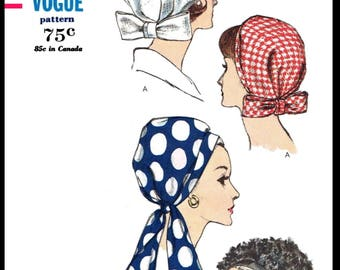 A4 PDF Digital Download Delivery 6410 Vintage Vogue Scarf HAT Fabric Sewing  Pattern Millinery Chemo Cancer Headcover Alopecia 22 Pdf Copy A4 e69563724aa