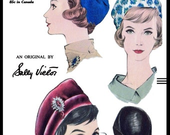 0c587a6f4be A3 PDF Digital Download Delivery Only!   5365 Vintage VOGUE Draped HAT  Fabric Sewing Pattern Designer Sally Victor Simple Millinery Copy Pdf