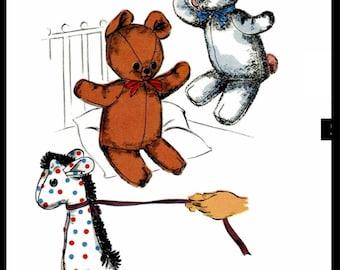 "PDF Digital Download Delivery Advance 8457 BABY Craft Toy Vintage 1940's Stuffed Animal Bear-20"" Bunny 24"" Giraffe-12-13""  PDF Download"