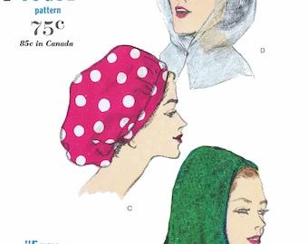 A3 PDF Digital Download Delivery Only! #5785 Vintage VOGUE Snood Hood HAT Fabric Sewing Pattern Designer Millinery Copy A3