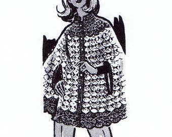 S-M-L Reproduction 5573 Vintage FRINGED CAPELET Pattern to Crochet
