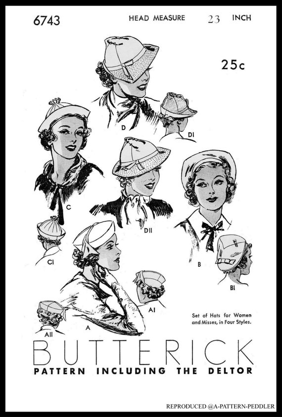 #2244 SIMPLICITY Gatsby Cloche Hats Fabric Sewing Pattern Chemo 40/'s Millinery Copy ~A3 Pdf 22 /& 23 A3 PDF Digital Delivery View #2 Only