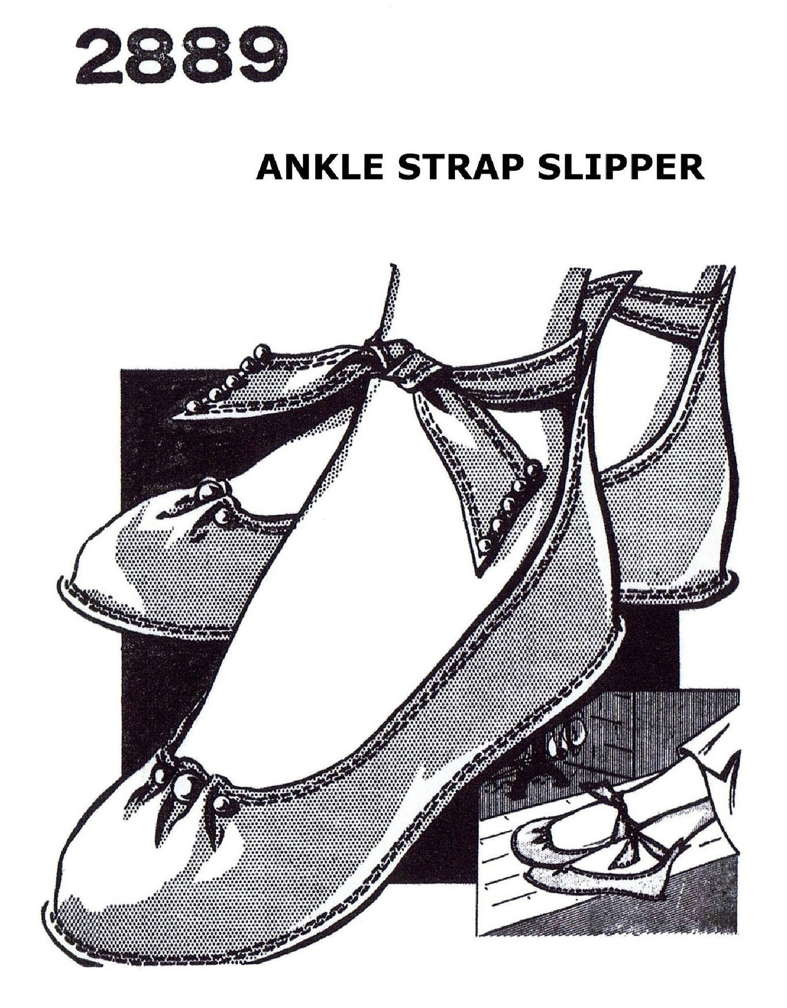 a3 ledger pdf digital delivery only!! ankle strap ballet slippers fabric material sewing pattern 2889 mail order vintage 40'