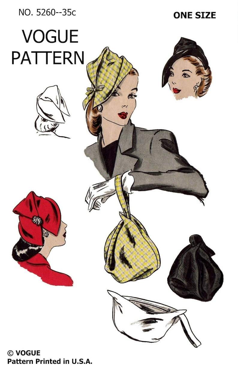 1940s Style Hats   Fascinator, Turban, Fedora PDF Digital Download Delivery Only! #5260 VOGUE Vintage Fabulous Hat & Bag Set Fabric Material Sewing Pattern 1940s Millinery Copy 1 Size  AT vintagedancer.com