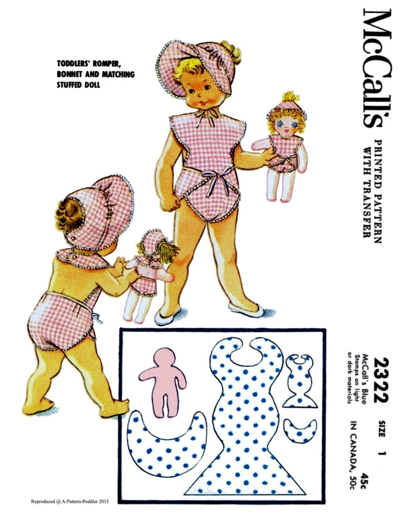 McCall/'s #2322 Child Summer Romper Bonnet Doll Playsuit Sunsuit Fabric Sewing Pattern Copy Girl Size 1~ A3 Ledger PDF Digital Delivery ONLY