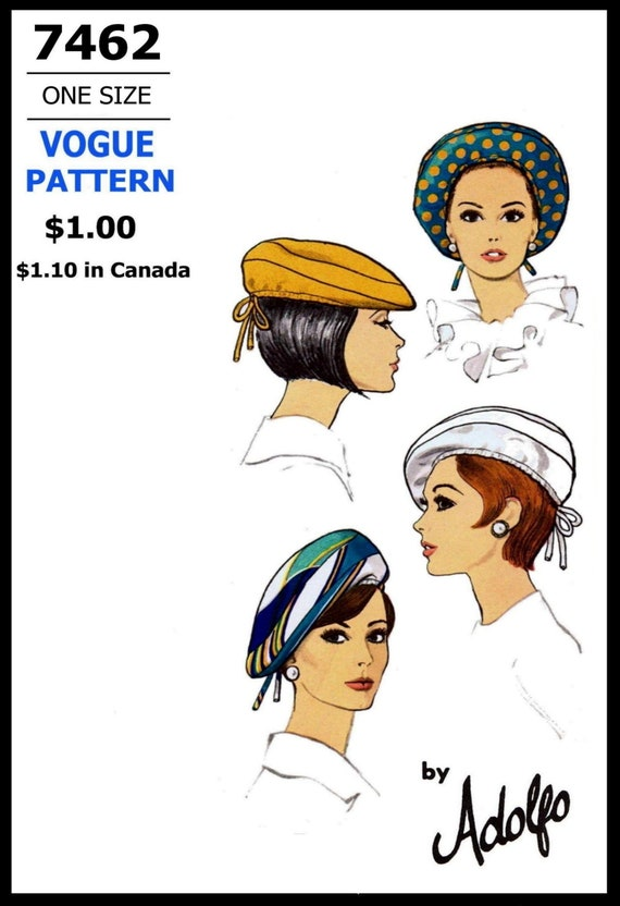 Vintage Vogue  Millinery Hat Beret Headband Fabric material sew  pattern # 7385