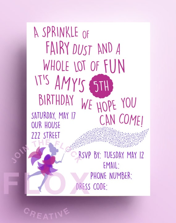 Fairy Birthday Party Invitation Download PDF Personalised Pink
