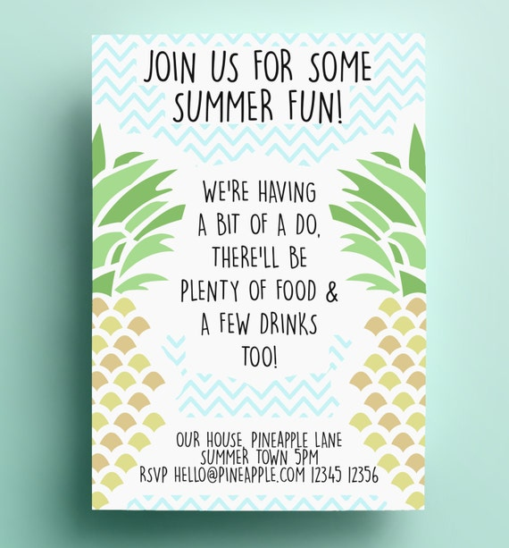 summer invitation download pdf bbq birthday pool party etsy