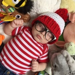 Red and White Hat with Red Pom Pom - Halloween Costume - Baby's First Halloween - Boy Winter Beanie - Costume Beanie  -  Red and White Hat