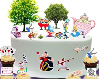 Alice In Wonderland Mad hatters Tea Party Scene made From Premium Edible Wafer Paper - Cake Topper decoration