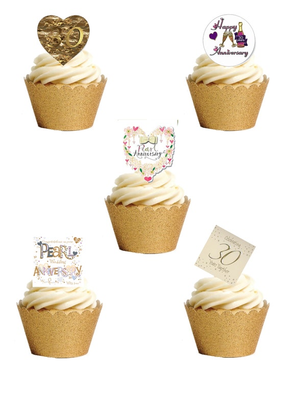 PRE-CUT 25th Silver Wedding Anniversary 12 Edible Cup Cake Toppers Decorations