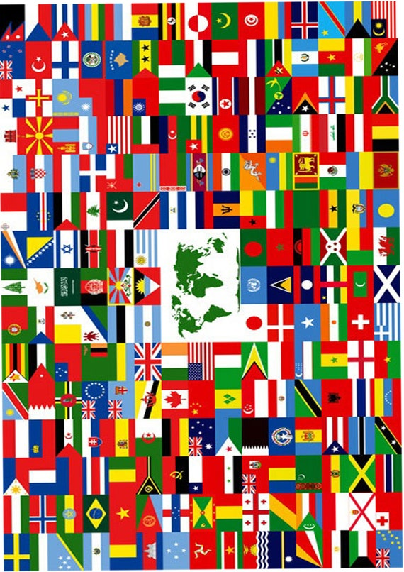 1 X A4 Printed Flags Of The World Wallpaper Decor Icing Sheet Etsy