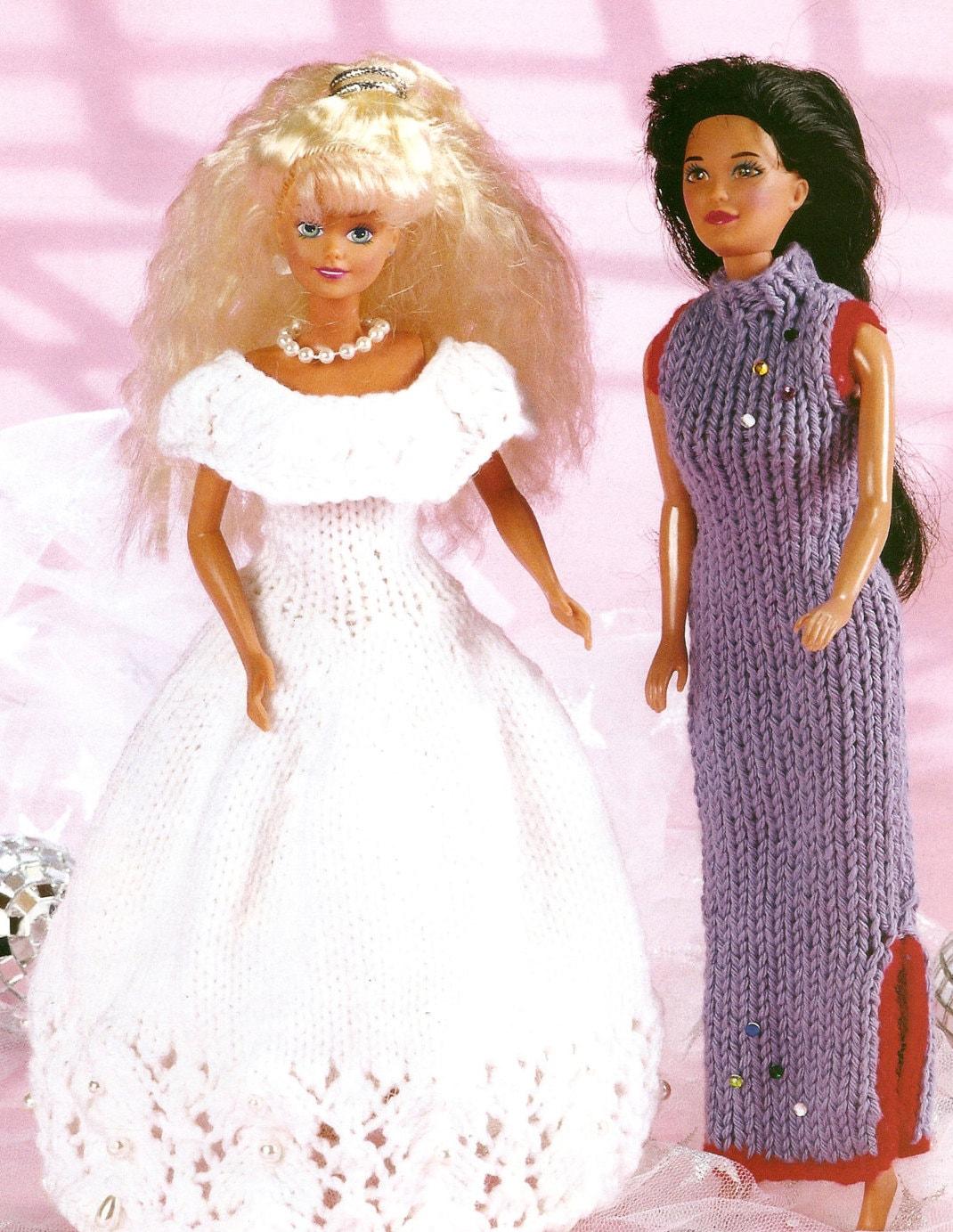 Knitting Pattern Barbie Doll Wedding Dress & Chinese Dress Teenage ...