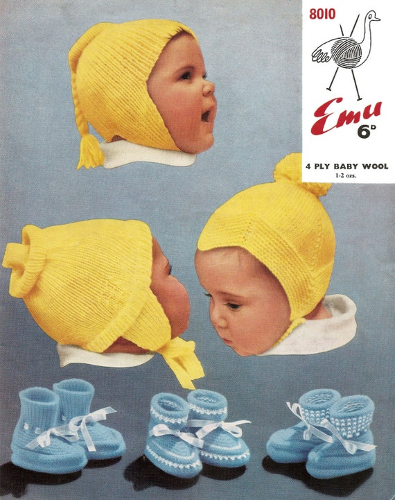 COPY baby knitting pattern BABY BONNETS sizes 3 to 12 months 4ply