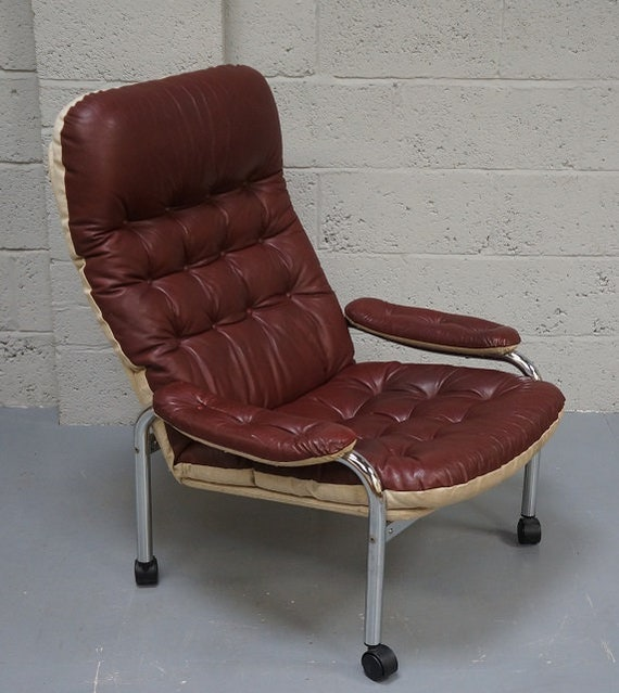 Swell Vintage Red Leather Chrome Armchair Creativecarmelina Interior Chair Design Creativecarmelinacom