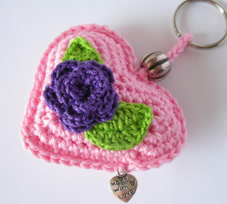Crochet porte cl porte cl s coeur au crochet crochet etsy - Porte cle crochet ...