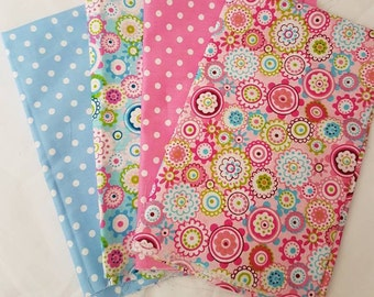 Fat quarter bundle/ blue/ pink / polka dots/ floral/ 4 fqs/ cotton/ quilting fabric