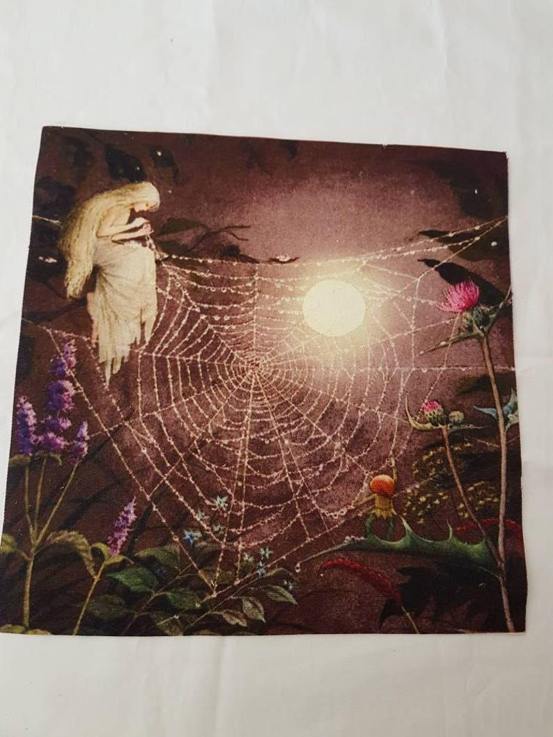 cherub snow// babies angel linen cotton blend craft panel// christmas panel