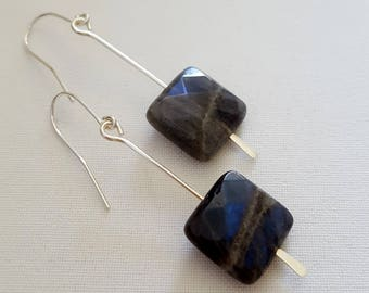 Labradorite square drop earrings, Sterling silver and labradorite earrings, blue flash labradorite, Made in Australia