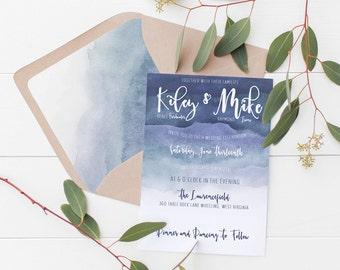 Blue Ombre Wedding Invitation Deposit